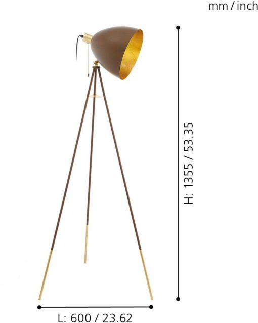Szlachetna lampa stojąca Eglo w kolorach złotym i rdzawym