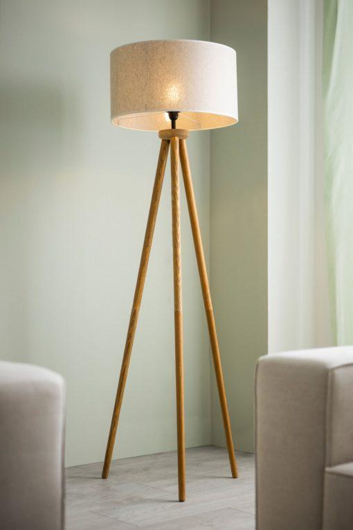 Lampa podłogowa z sosnowym trójnogiem, beżowa