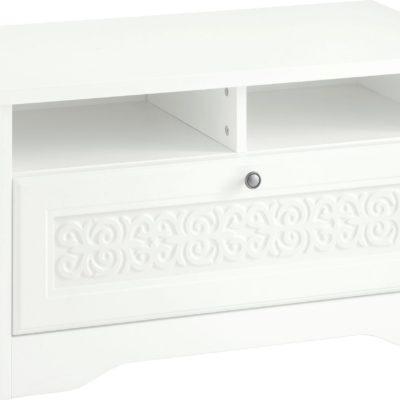 Biała ławka z szufladą i dekoracyjnym ornamentem