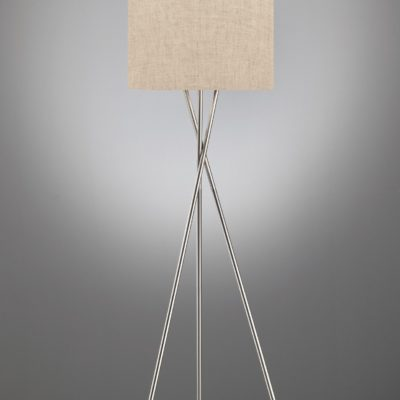Lampa stojąca beżowy abażur, niklowany trójnóg