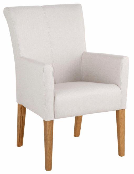 Wygodny, zgrabny fotel w klasycznym stylu, beżowy