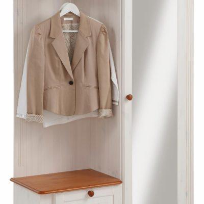 Sosnowa garderoba, szafa z lustrem, wieszak i szafka na buty