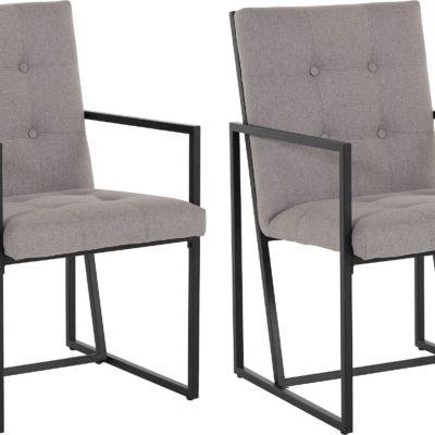 Dwa szare fotele na metalowej ramie, eleganckie i nowoczesne