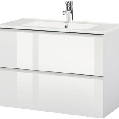Wisząca szafka pod umywalkę z ceramiczną umywalką, biała