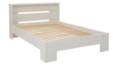 Sosnowe białe łóżko 140x200 cm z półką i stelażem