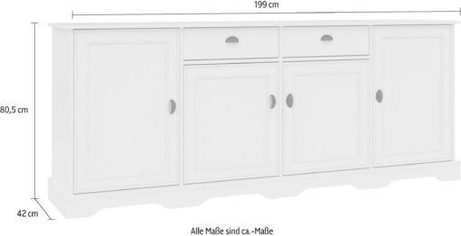 Duża czterodrzwiowa komoda biała 199 cm szerokości