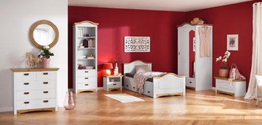 Sosnowe łózko z szufladami 90x200 cm, biało-miodowe