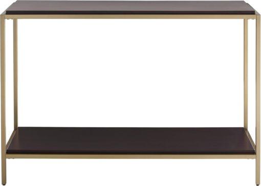 Nowoczesna konsola, orzechowe blaty i złota rama