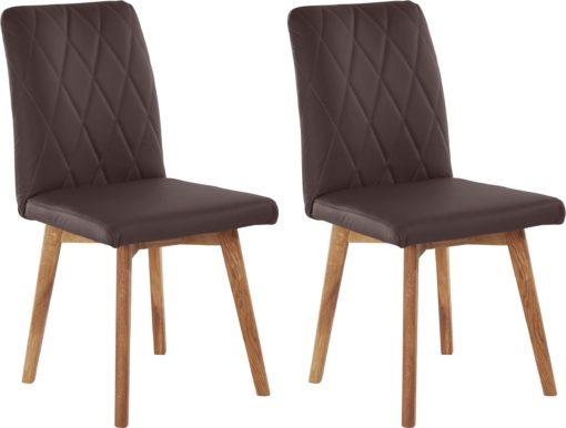 Skórzane brązowe krzesła na dębowych nogach - 2 sztuki