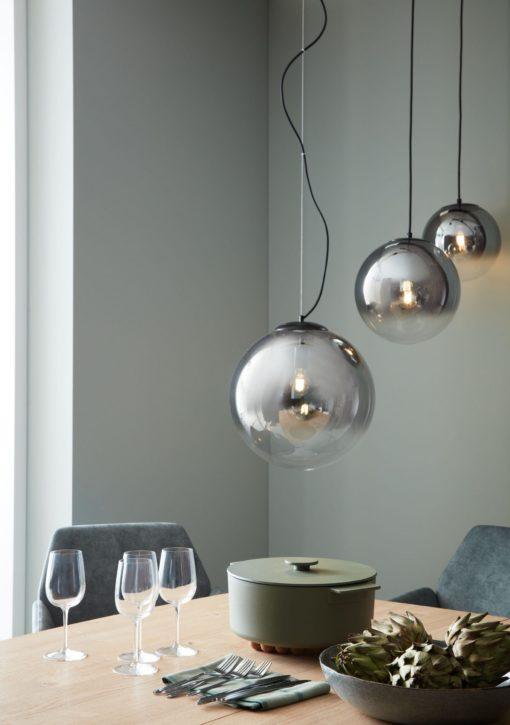 Szklana lampa wisząca w kształcie kuli 40 cm, przydymiona