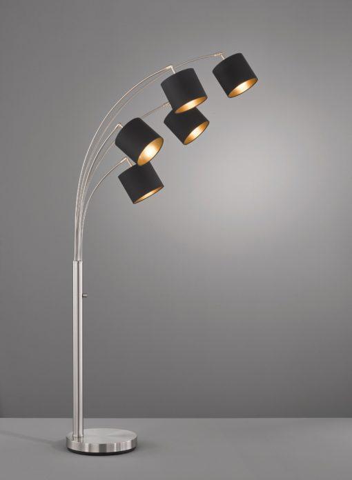 Ciekawa lampa podłogowa, 5 punktów światła, czarna