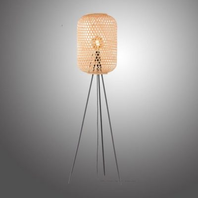 Stojąca lampa z bambusowym kloszem w stylu etnicznym, naturalna