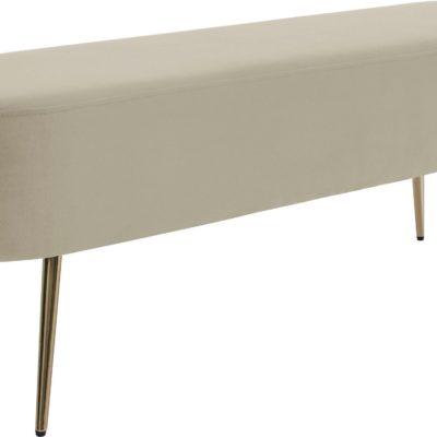Luksusowa beżowa ławka w stylu glamour, 120 cm