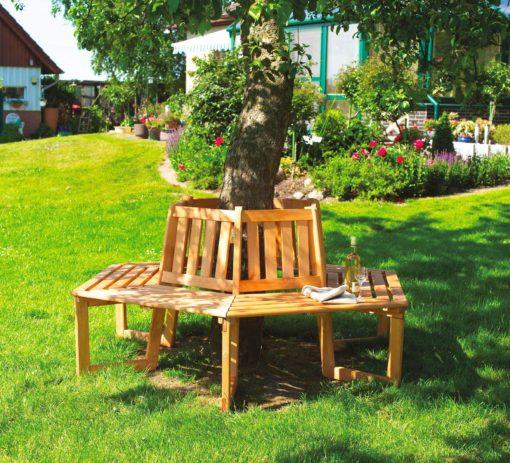 Sosnowa ławka ogrodowa do zamontowania dookoła drzewa