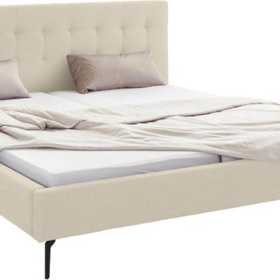 Szlachetne, tapicerowane łóżko, kremowe 180x200 cm