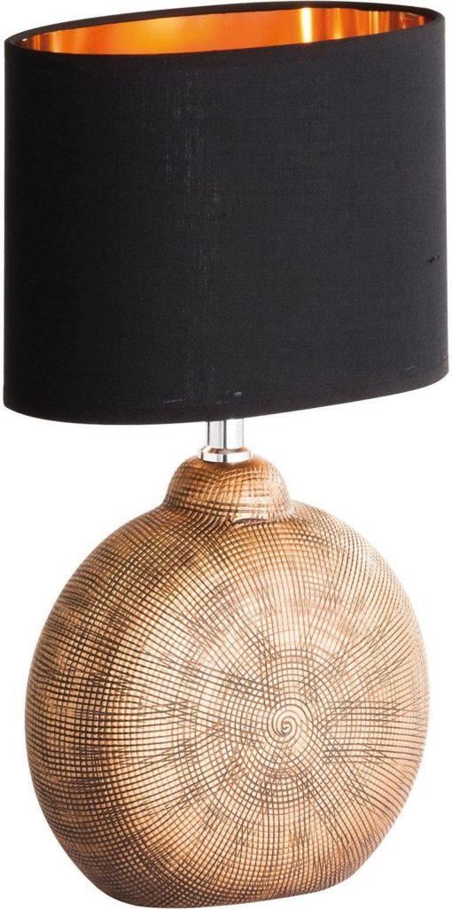 Lampa stołowa, czarny abażur z miedzianym wnętrzem