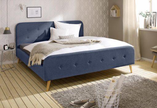 Eleganckie, tapicerowane łóżko 160x200 cm, niebieskie