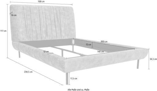 Tapicerowane szare łóżko 140x200 cm w stylu skandynawskim