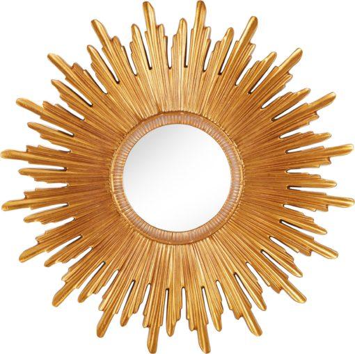 Złote lustro ścienne jak słońce, rama z odlewanej poliresiny