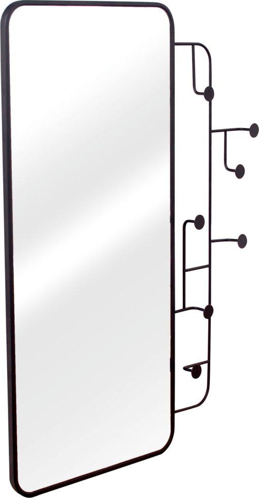 Lustro czarne w stylu skandynawskim z wieszakami