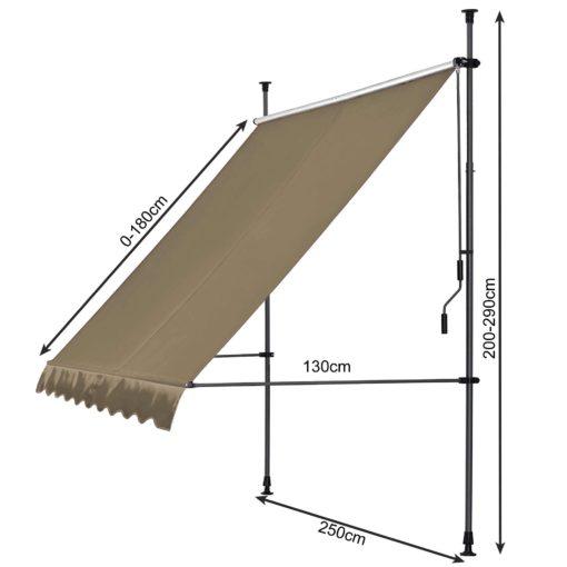 Markiza pionowa Quick Star szerokość 250 cm, wysięg 130 cm, regulowany kąt nachylenia