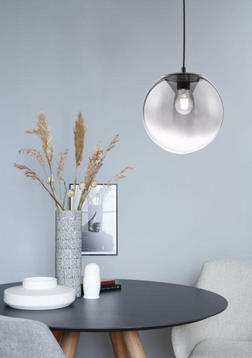 Szklana lampa wisząca w kształcie kuli 25 cm, przydymiona