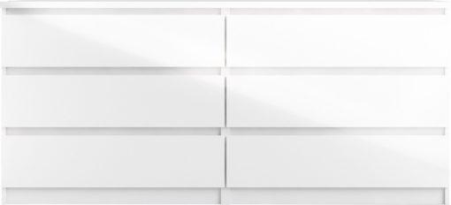 Biała komoda w połysku z sześcioma szufladami