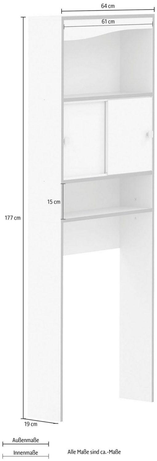 Biała szafka na pralkę z drzwiami i półkami