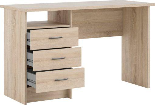 Biurko z szufladami, klasyczny design w kolorze drewna dębowego