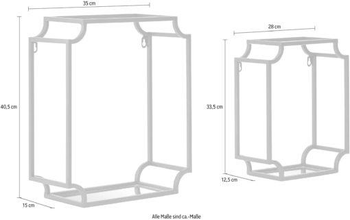 Zestaw dwóch czarnych półek z metalu, styl industrialny