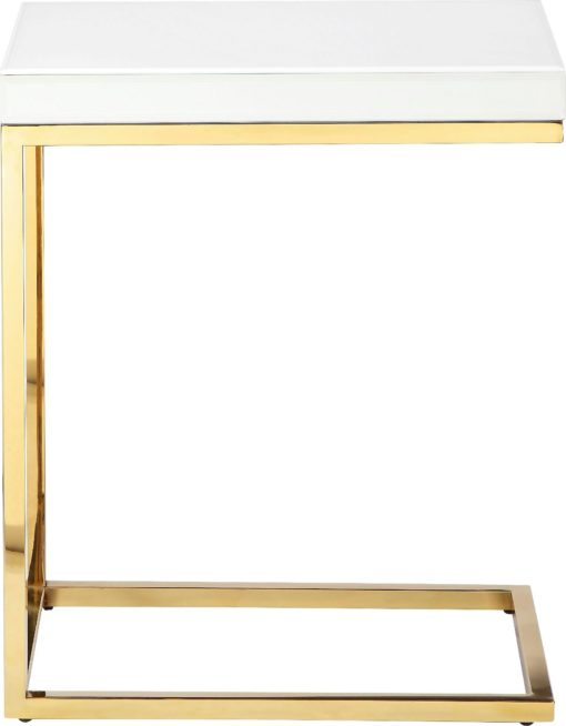 Stolik pomocniczy ze złotymi nogami i białym blatem