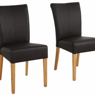 """Krzesła """"Queen"""" z dębową ramą i nogami - 2 sztuki, sztuczna skóra"""