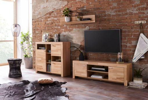 Szafka pod telewizor z bukowym frontem 148,5 cm
