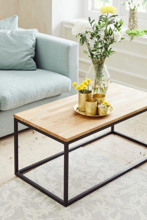 Stolik kawowy, dębowy blat na metalowych nogach, 100 cm