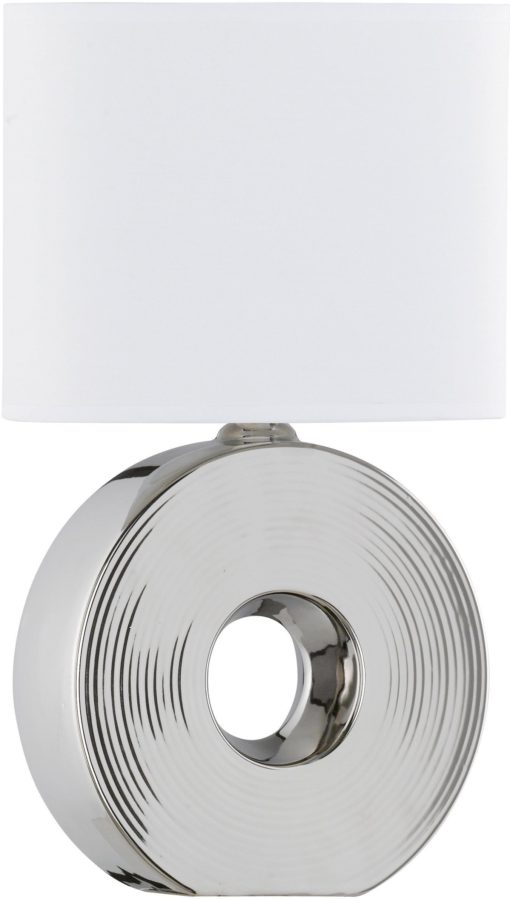 Lampa stołowa, srebrna podstawa i biały abażur