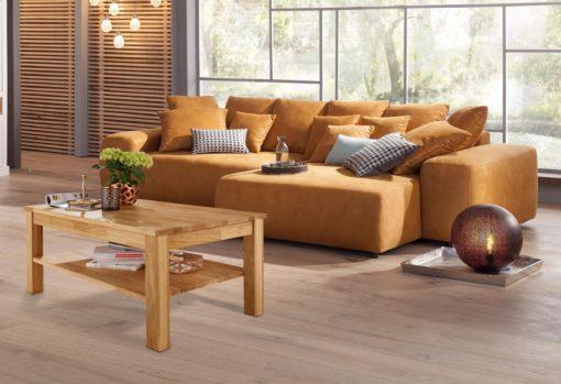 Stolik kawowy z półką, z drewna dębowego, olejowany
