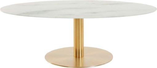 Stolik o wyglądzie marmuru na złotej podstawie, elegancki