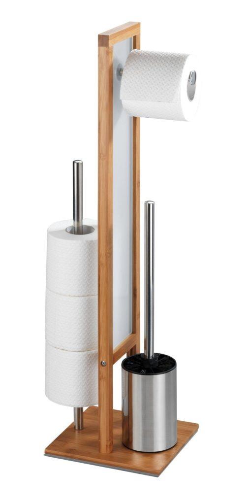 Stojak toaletowy z bambusa z uchwytem na papier i szczotkę