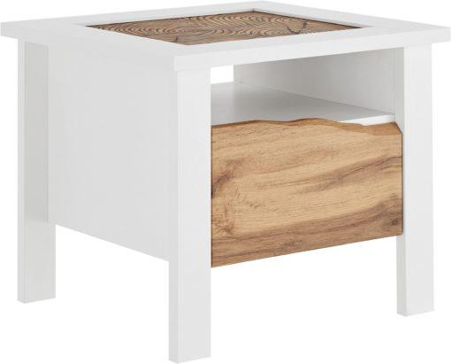 Zachwycający stolik z szufladą, ciekawy kształt