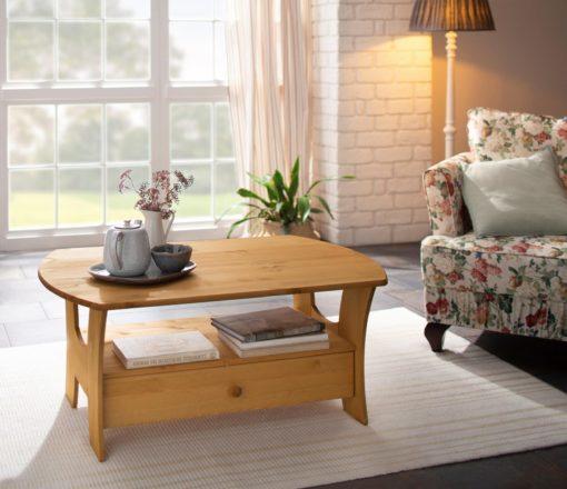Piękny, rustykalny stolik z szufladą i półką