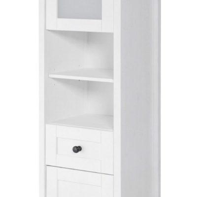 Biała sosnowa szafka wysoka z przeszkleniem