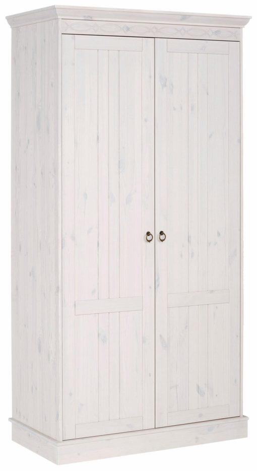 Sosnowa szafa dwudrzwiowa, biała , rustykalna