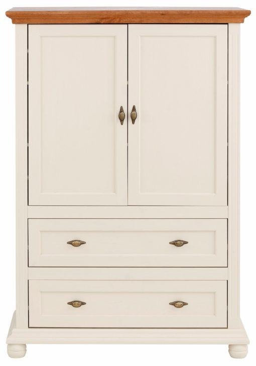 Piękna komoda w stylu rustykalnym, kremowa z miodowym blatem