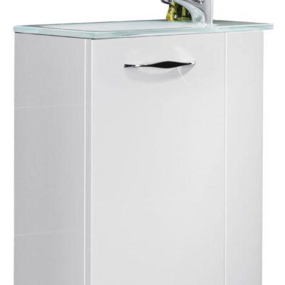 Biała mini szafka z umywalką do łazienki