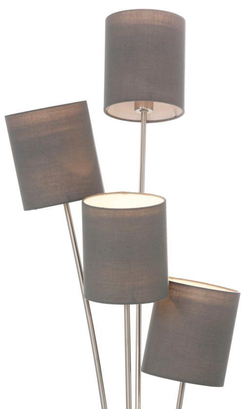 Lampa podłogowa aż 4 punkty światła, szara