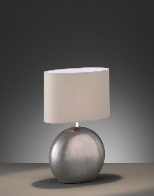 Lampa stołowa, podstawa z szarej ceramiki, tekstylny abażur