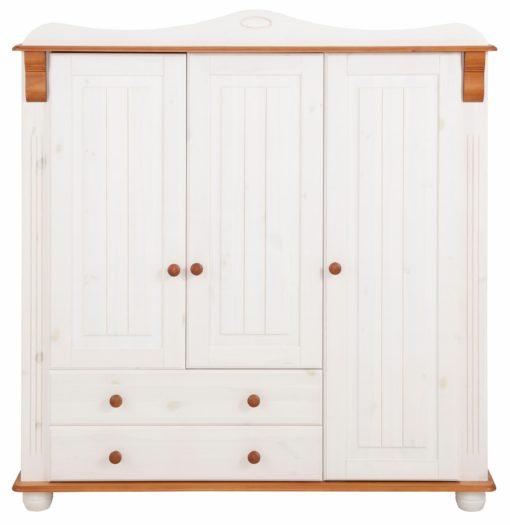 Rustykalna sosnowa szafa trzydrzwiowa z szufladami, biało-wiśniowa