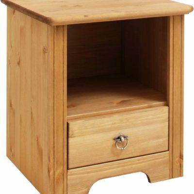Praktyczna szafka nocna z sosny, olejowana