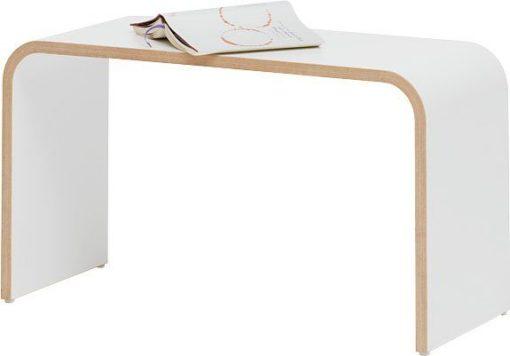Minimalistyczna biała ławka o nowoczesnym designie