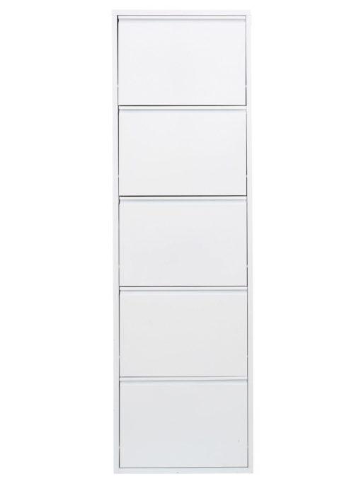 Pięciodrzwiowa metalowa szafka na buty, biała